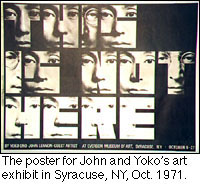 The poster for John and Yoko's art exhibit in Syracuse, NY, Oct 1971.